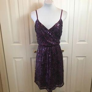 Express Plum Sequin Lace Blouson Cocktail Dress L